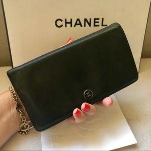 Chanel CC Coco Button Black Caviar Bi Fold Wallet